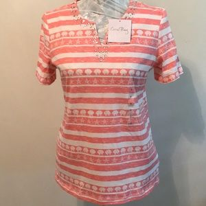 NWT Coral Bay Embellished Shell & Starfish Blouse